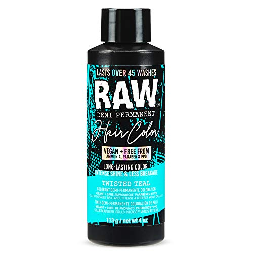 RAW Twisted Teal Demi-Permanent Hair Color, Vegan, Free from Ammonia, Paraben & PPD, lasts over 45 washes, 4oz