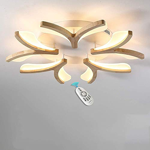 Lámpara LED de Techo Regulable 50W Madera Moderno Plafón para Dormitorio Lámparas...