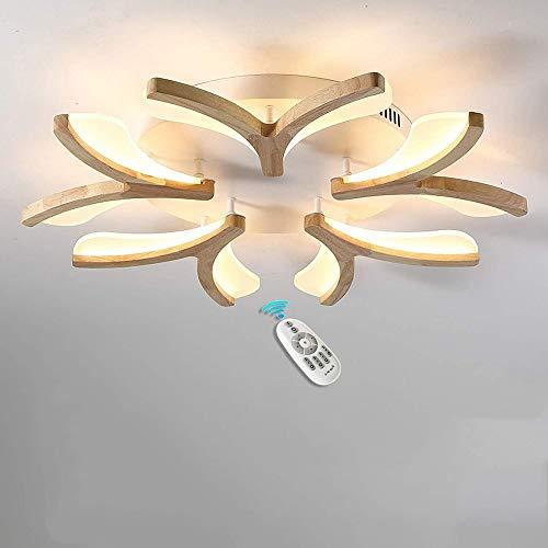 Lámpara LED de Techo Regulable 50W Madera Moderno Plafón para Dormitorio Lámparas de Salón Techo con Mando a Distancia creativos Forma de la Flor Luz de Techo de iluminación para Sala Comedor Luces