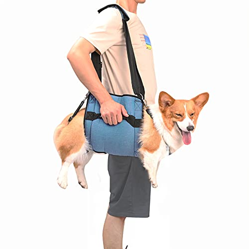 Dog Carry Sling, Emergency Backpack Pet Legs Support & Rehabilitation Dog Lift Harness for Nail Trimming, Dog Carrier for Senior Dogs Joint Injuries, Arthritis, Up and Down Stairs (Large)