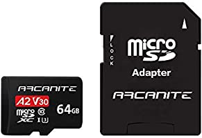 ARCANITE 64GB microSDXC Memory Card with Adapter - A2, UHS-I U3, V30, 4K, C10, Micro SD, Optimal read speeds up to 95 MB/s