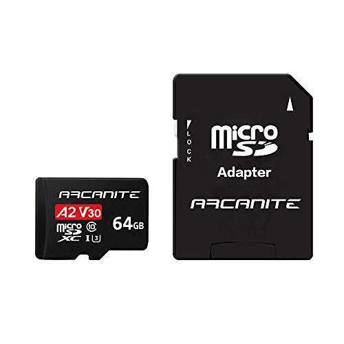 ARCANITE, 64 GB Micro SDXC scheda di memoria con adattatore - A2, UHS-I U3, V30, 4K, C10, Micro SD, Velocità di lettura fino a 95 MB/s