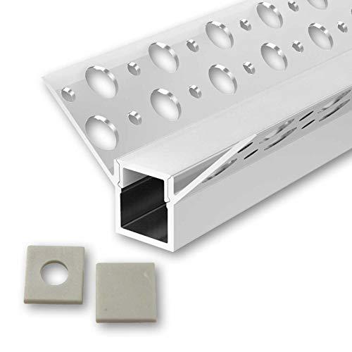 ONUR U-Profil Aluminium LED eloxiert | L - 2m x B - 1,3cm x H - 12,8cm | Alu Kanal für LED Streifen + Acryl Abdeckung milchig-weiß + 2x Endkappen | Aluprofil für Stripes bis 10mm Breite + belastbar