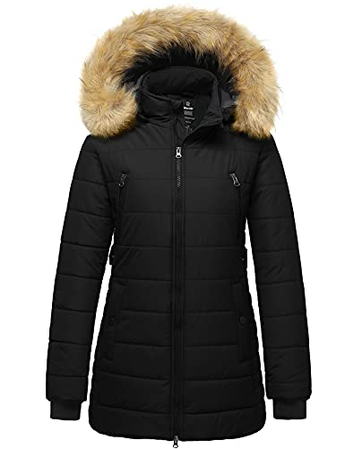 Wantdo Women's Long Winter Coat Thick Outwear Puffer Coat with Fur Hood Black S