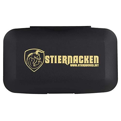 STIERNACKEN - Tablettendose / Tablettenbox - Aufbewahrung mit 5 Fächern - Schwarz / Gold