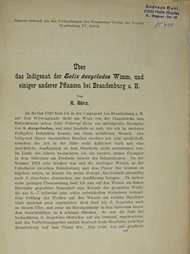 Über das Indigenat der Salix dasyclados Wimm. und einiger anderer Pflanzen bei Brandenburg a. H.
