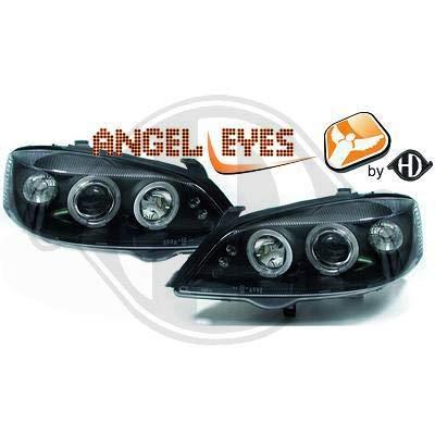1805685, 1 paar Angel Eyes koplampen zwart voor Astra G van 1997 tot 2004