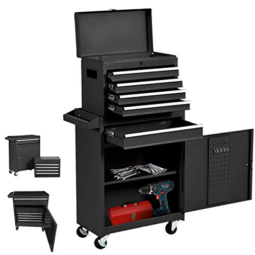 5 Drawers Rolling Tool Box, Large Tool Organizers Lockable Tool Box with Wheels and Sliding Drawers, 4 Universal Wheels Keyed Locking System Tool Chest, Detachable Toolbox Great for Workshop Warehouse (Black)