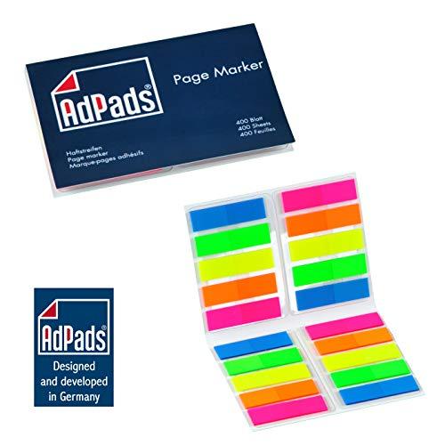 AdPads® Pagemarker selbstklebend | 45 x 12mm, 400 Blatt, Set Bunt Neonfarben | Schmale Sticky Notes Marker