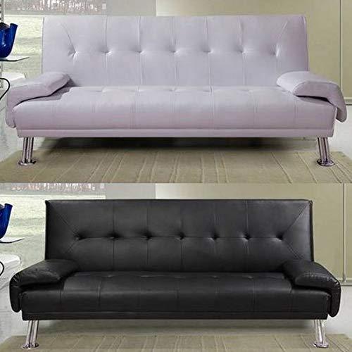 Bagno Italia Divano Letto sofà 194x110x40 in Ecopelle Nero o Bianco reclinabile Design Moderno per Sala Soggiorno Modello Sibilla I Modern