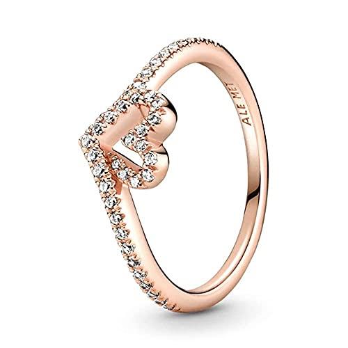 Pandora Anillo para mujer Sparkling Wishbone Heart 189302C01, Metal precioso., Circonita cúbica.,