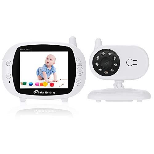 """KKmoon Vigilabebés 3.5"""" Monitor Cámara de Vigilancia Inalámbrica 2,4GHz con 8 IR LED 2 Vias de Audio Intercome 3 Canciones de Cuna Muestra Temperatura"""
