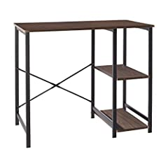 Computer and study desk with ample storage space Ideal for dorm rooms, study spaces, or small home offices Two open storage shelves and wide desk top Durable wood and metal construction Minimal, modern design aesthetic that complements most interiors...