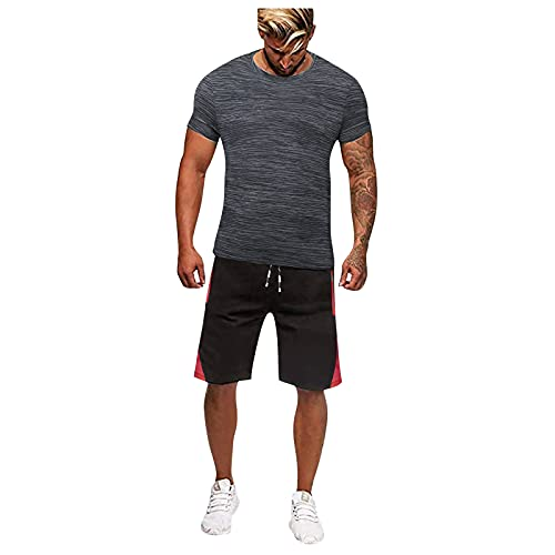 Lousioa Men Summer Gradual Breathable Quick-Dry Athletic Gym Workout Muscle Bodybuilding Outdoor Sports Training Football Set