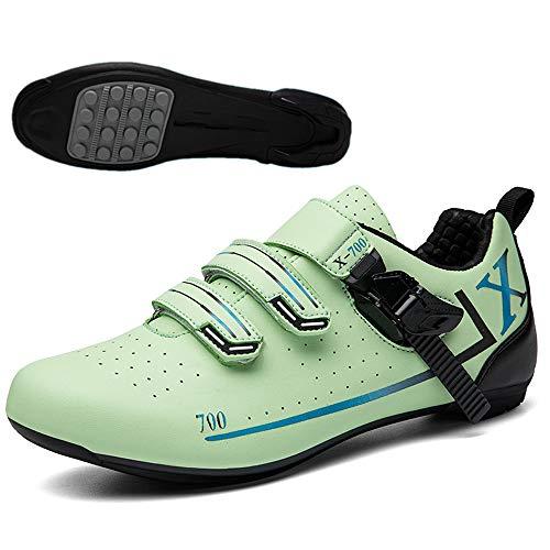 JINFAN Zapatillas de Ciclismo para Hombres y Mujeres Zapatillas de Ciclismo Transpirables de Suela Dura,Green-(250mm)=40EU