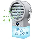 Portable Cooler Fan with Humidifier for Desk, Small Personal Air Conditioner with 500ml Water Tank, Quiet Misting Fan with 3 Cooling Speeds 7 LED Night Light For Home Bedroom Small Room Dorm Office Table