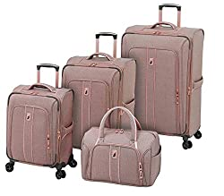 LONDON FOG Newcastle Softside Expandable Spinner Luggage, Rose Charcoal Herringbone, 4 Piece Set