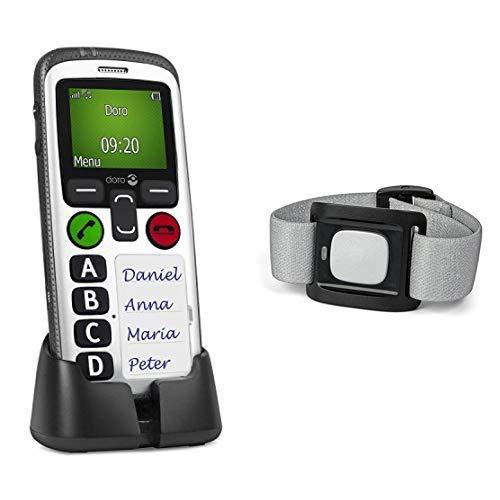 Doro Secure 580 GSM Mobiltelefon (4 Kurzwahltasten, Sicherheitstimer) schwarz-weiß und  3500 Alarmtaster (geeignet für Secure 580, 5516, 6050, 8031, 8035, 8040, Liberto 825) silber/schwarz