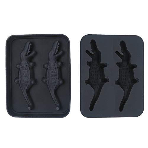 3D-zwarte siliconen ijsblokjesvormen krokodillenvormig, siliconenmatrijs voor Bar Whisky, Cocktail, Wodka, Brandy DIY creatieve ijsblokjesvorm, keukenchocolade, gelei, snoep, ijs maken lade