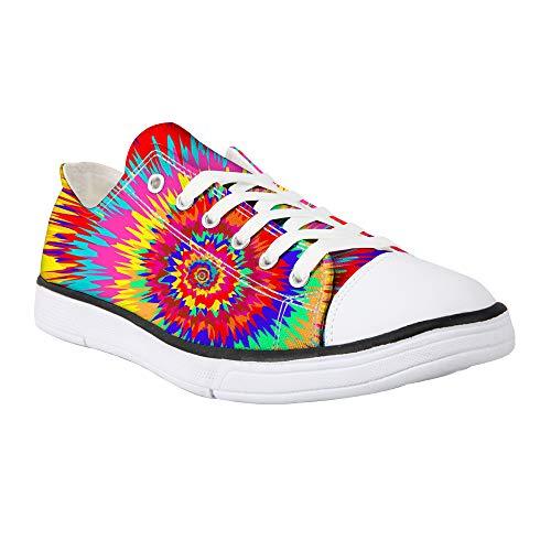 Showudesigns Animal Damen-Sneakers aus Segeltuch, mit Schnürung, Sneakers, modische Pumps, weiß/blau/grau/grün, Pink - Batik-Regenbogen 2 - Größe: 41 EU