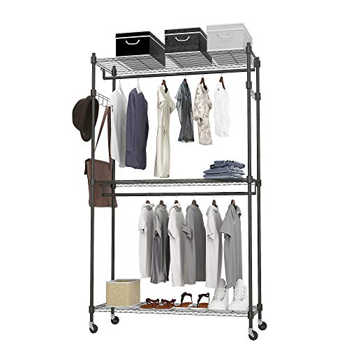 Heavy Duty Garment Rack on Wheels, Clothes Racks for hanging clothes with Double Hanging Bar, 2 Hanger Hooks - Hold Up to 400Lbs (Black, 2Rod 2Hook)