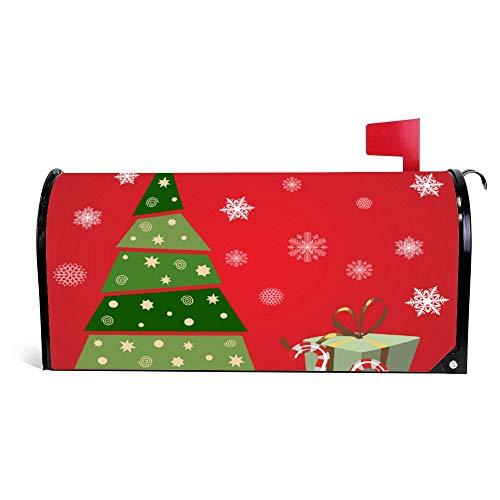 wendana kerstboom met geschenken en snoepjes rode brievenbus cover magnetische Vinyl Thuis Tuin Decor brievenbus Wrap Post Brievenbus Cover 18