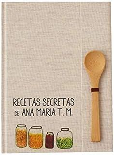 Recetario en blanco personalizado con tu nombre 15x21 | Libro de recetas de cocina para escribir tapa dura A5 | Índice y c...