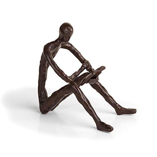Danya B. ZD14010 Escultura de bronce de la persona leyendo un libro - Diseño moderno y elegante - Arte de metal - Decoración contemporánea del hogar y la oficina