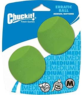 "Chuckit! Erratic Ball, Medium, 2.5"", 2 Pack, Green"