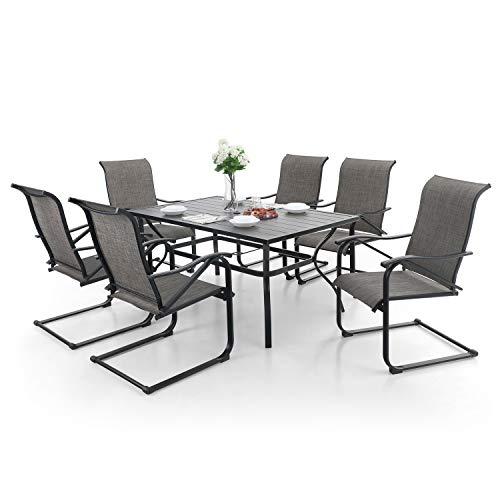 MFSTUDIO 7-Piece Metal Outdoor Patio Dining Furniture Set with C Spring...