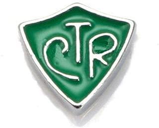 CTR Shield Green Enamel Silver 9mm Floating Charm for Memory Locket 1pc ID-2329