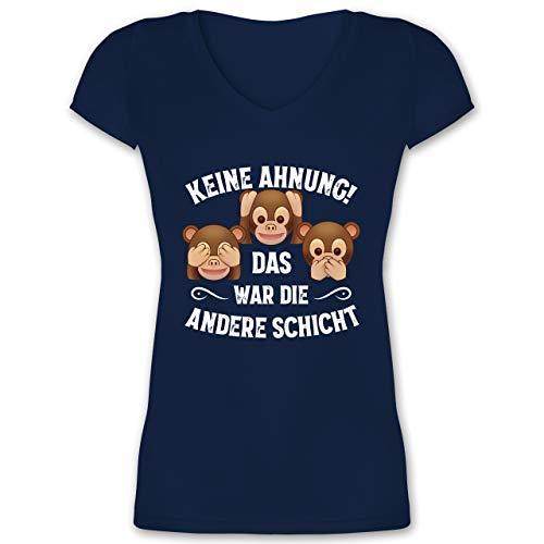 Sprüche Statement mit Spruch - Keine Ahnung das war die andere Schicht Affen weiß - XL - Dunkelblau - war die andere Schicht - XO1525 - Damen T-Shirt mit V-Ausschnitt