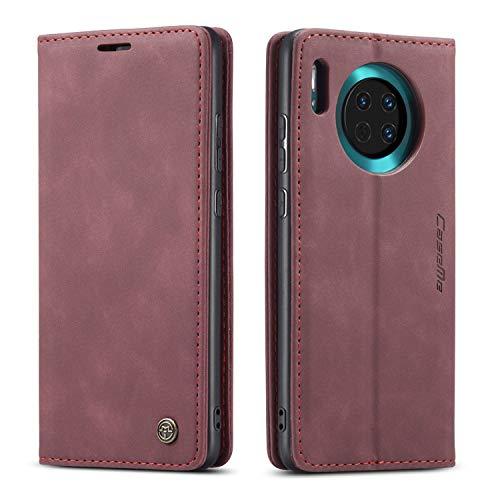 mvced Cover per Huawei Mate 30,Flip Custodia Caso Libro Pelle PU e TPU Silicone Antiurto,Wine Red