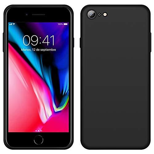 iPhone 8 Funda, LaimTop Slim Silicona Líquida Estuche Suave Caucho Absorción de Golpes Anti-Arañazos Carcasa Protectora para iPhone 7 / iPhone 8 Negro