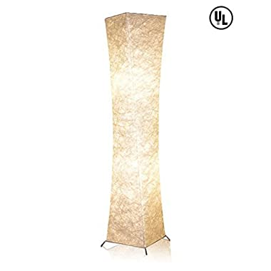LEONC 52 Creative LED Floor Lamp Softlighting Contemporary Standing Modern Twisted Design with Fabric Shade & 2 Bulbs for Living room Warm Atmosphere(Linen Fabric: 10 x 10 x 52 inch)(Style-2 General)