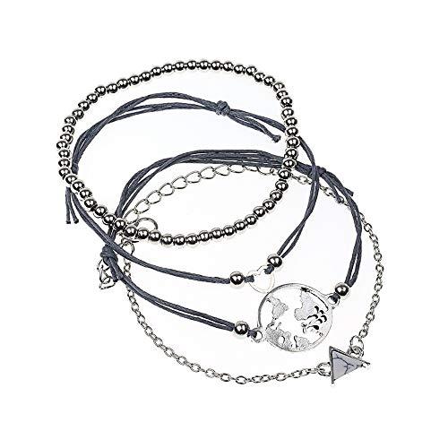 AKKi jewelry Damen Armband Set Sets Angebot Tennis-Armband, in rhodiniert Armkette mit Silber Kristall Perlen bohemischer Stil schmuck verstelbar World