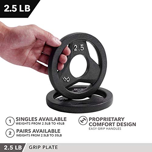 "Day 1 Fitness Cast Iron Olympic 2-Inch Grip Plate for Barbell, 25 Pound Set of 2 Plates Iron Grip Plates for Weightlifting, Crossfit - 2"" Weight Plate for Bodybuilding"