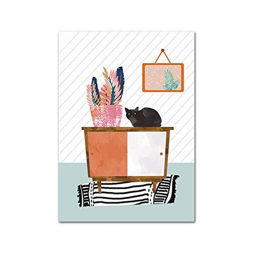 Acuarela Gato Ilustración Arte Cartel Lienzo Pared Guardería Impresión Minimalista Pintura Abstracta Decoración nórdica Moderna Imagen (Sin Marco)
