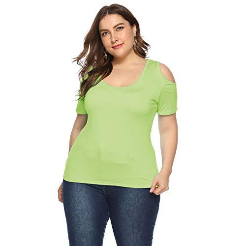 HHKX100822 Plus Size Damen Tanktops Loose Fit, MäDchen Sommer Einfarbig Rundhalsausschnitt TräGerloses T-Shirt KurzäRmelig XXXXXL Grün