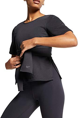 NIKE W Nk Studio SS Wrap Top Camiseta, Mujer, Oil Grey/Black, S