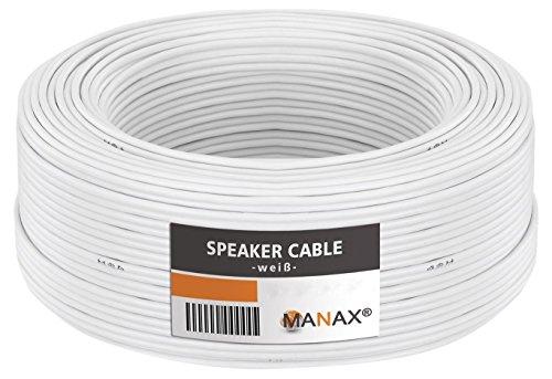 MANAX - Cavo per altoparlante, 2 x 2,5 mm2, 50 m, colore: Bianco