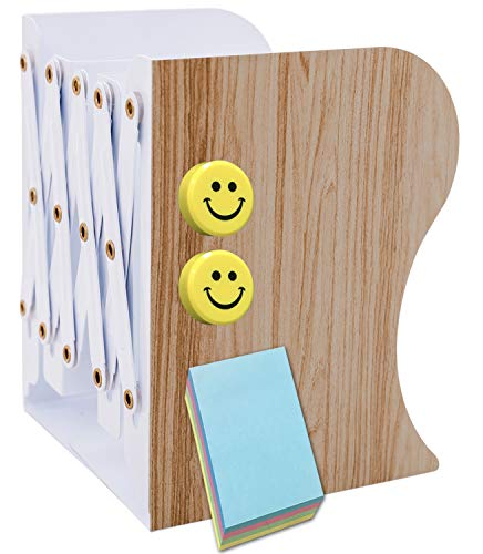 Qualsen 2個セット 本立て ブックスタンド 伸縮型 ブックエンド 金属製 重たくて厚みがある シンプル おしゃれ 仕切りブックスタンド 書類/ファイル/雑誌/新聞/CD/漫画入れ 付箋やマグネット付き【正規品】(木目柄)
