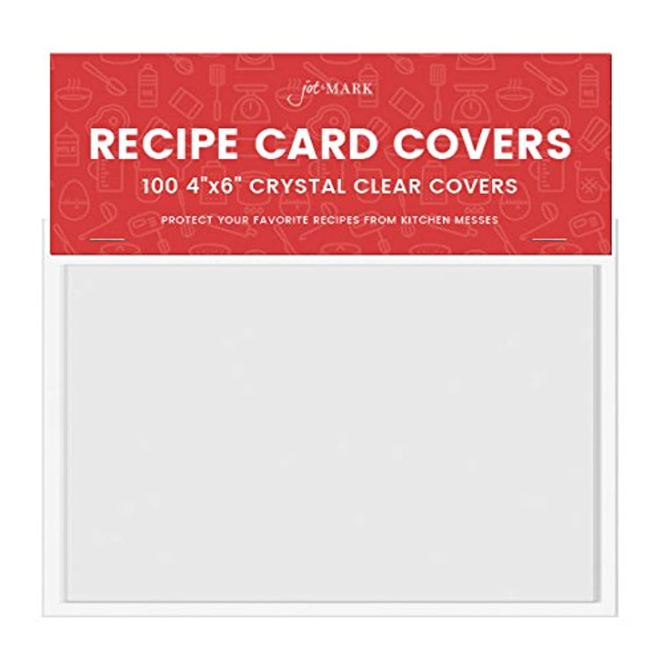 Jot & Mark 4x6 Recipe Card Protectors | Protect Your Recipes from Kitchen Messes | 100 Crystal Clear Covers Per Pack