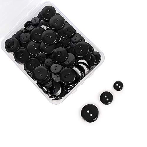 SUNTATOP 200 Stück Knöpfe Harz Knopf Set Basis Knopf für DIY Nähen,Scrapbooking und Handwerk Verzierung,10mm 15mm 20mm (Schwarz)