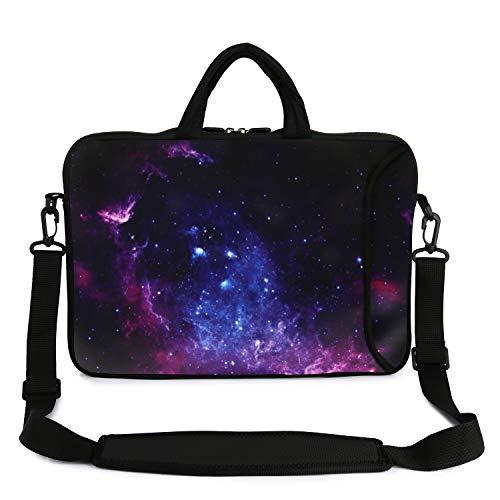 """Violet Mist 13"""" 15"""" 15.6"""" Neoprene Laptop Sleeve Bag Waterproof Sleeve Case Adjustable Shoulder Strap External Pocket(14' 15'-15.6', Starry Sky2)"""