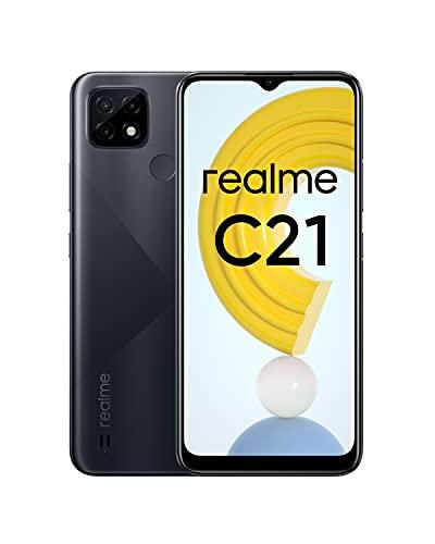realme C21 Smartphone, Mega batteria da 5.000 mAh, Display mini-drop da 6,5 , Tripla fotocamera da 13 MP con AI, Potente processore Helio G35, Dual Sim, NFC, 4+64GB, Nero (Cross black)
