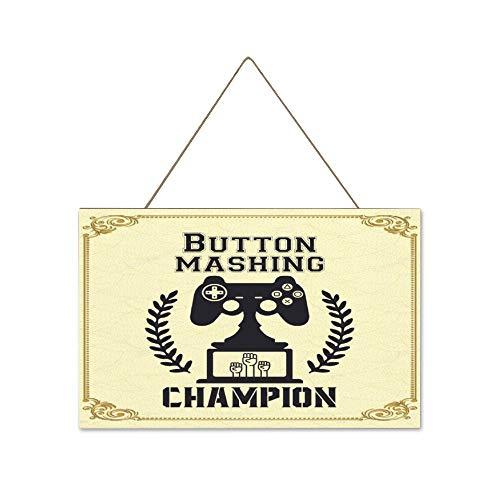 Free Brand Letrero de madera para colgar en la pared de la habitación del interior y al aire libre con botón de puré de campeón, placa para colgar en la pared, placa única para el hogar de 10 x 16