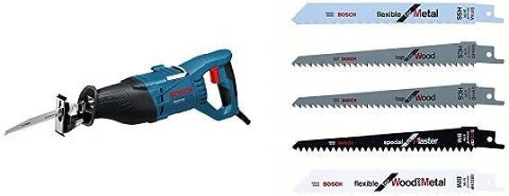 Bosch Professional GSA 1100 E - Sierra sable (1100 W, 0 ? 2700 cpm, profundidad de corte 230 mm, en maletín) + Hojas de sierra intercambiables (set de 5 piezas)