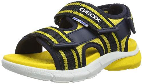 Geox Jungen J FLEXYPER BO Peeptoe Sandalen, Blau (Navy/Yellow C0657), 27 EU