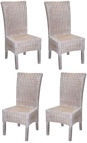 KMH®, 4er Set Esszimmerstühle aus Rattangeflecht in weiß (#205037)